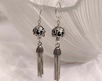 Vintage sterling silver tassels dangling earrings handmade with sterling silver obsidian quartz and sterling silver wire