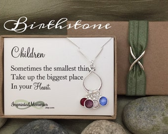 Eternity Birthstone Necklace - Gift for Wife Gift for Mom Gift from Kids Necklace for Mom Jewelry for Mom Personalized gift for her - Sister