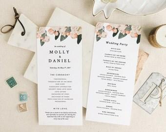 Printable Wedding Programs Template, Printable Programs,Vintage Floral Wedding Program | Edit in Word or Pages