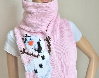 Hand knitted girl's ''FROZEN'' scarf and hat set