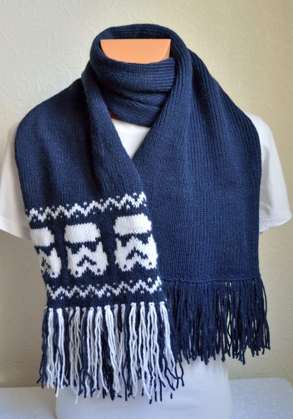 Knitting Pattern For Star Wars Scarf : Hand knitted unisex Star wars scarf by VidaKnitworks on Etsy