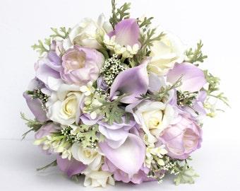 LAVENDER WEDDING BOUQUET- lavender Wedding Bridal Bouquet , Purple Real to Touch Peonies Bridal Bouquet, Purple, Ivory and mint bouquet