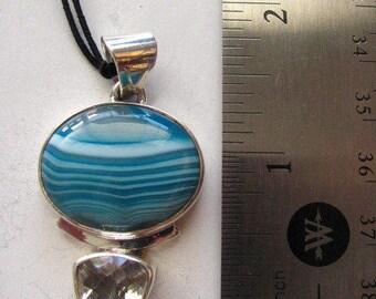 baby blue agate and white quartz pendant