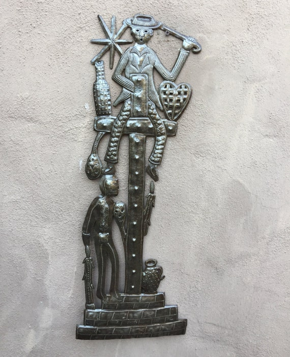 "Gede on top of the cross, Haiti Metal Wall Art  9.5"" x 26.5"""