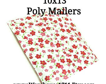 25 Red/Pink Floral Poly Mailers/Designed Poly Mailers/Size:10x13/Packing Supplies/Mailing Supplies/Peel & Seal