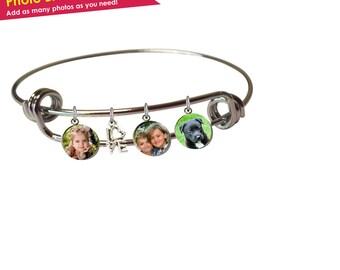 Photo Bracelet- Personalized Photo Bracelet- Photo Charm Bracelet- Gifts for Mom Christmas- Grandma Gifts- Photo Jewelry- Bangle Bracelet