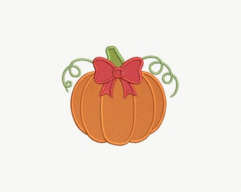 Pumpkin with Bow Applique Machine Embroidery Design - 3 Sizes