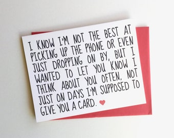 Honest Mother's Day Card // Honest Father's Day Card // I Love You!