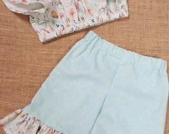 Girls Summer Set, Boho Print, Crop Top/Shorts
