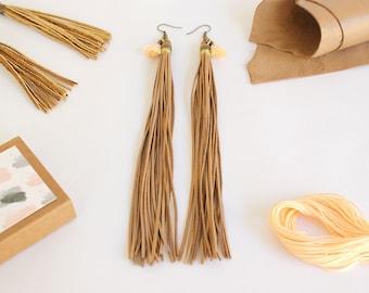 Double tassel earrings, Beige leather earrings, Boho  earrings, Leather earrings, Statement earrings, Long earrings, Brown leather earrings
