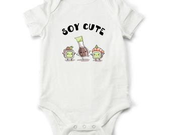 Soy Cute baby shower gift, Sushi baby bodysuit, Funny toddler shirt, Baby boy gift, Baby girl gift