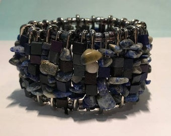 Blue Stone and Cubed Safety Pin Bracelet/Cuff