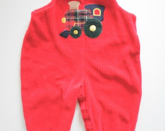 Baby Boy's Clothes - Choo-Choo Train Romper - Red Cotton Overalls - Made in the USA - Size 6 to 9 Months-- SALE!