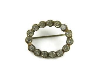 Vintage Rhinestone Oval Pin