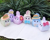 Easter gift box Printable, Rabbit gift box, Easter bunny party supplies favors or decor, 6 cute pastel color bunnies, rabbits, DIY