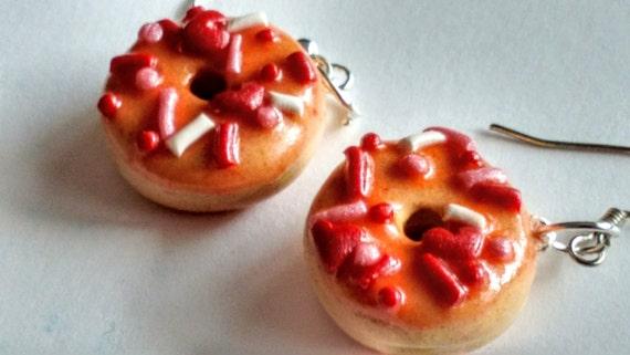 Valentine's Day Glazed Doughnut Earrings - Miniature Food Jewelry - Inedible Jewelry - Doughnut Jewelry - Donut Earrings - Kid's Jewelry