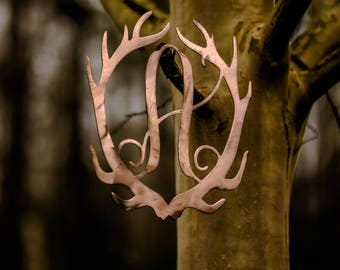 Metal Antler Initial Front Door Hanger- Wall Art