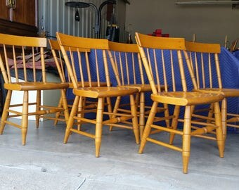 Vintage 1950's Solid Maple Dining Chairs Willett Furniture Mid Century Lancaster County Terrific Quality Set Of 6 Made In Louisville USA