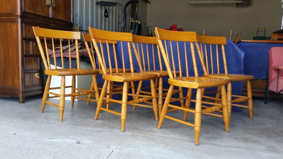 Free Shipping 1950\'s Solid Maple Dining Chairs Willett