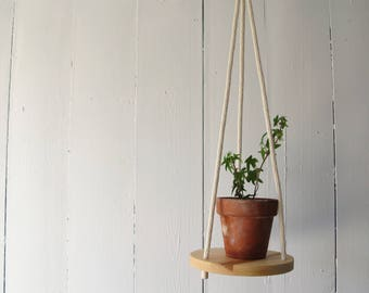 Wood & Cotton Hanging Planter SOLO 8'' - Hanging shelf - Hanging plant holder - Maple Wood - Hand Made in Canada -