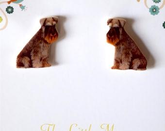 Miniature Schnauzer / Schnauzer Sterling Silver Stud Earrings