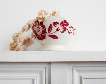 French Vintage Cafe Au Lait Bowl Dark Red stenciled flowers on cream white Digoin/Sarreguemines Generous Size