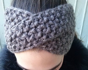 Brown Winter headband, knitted headband