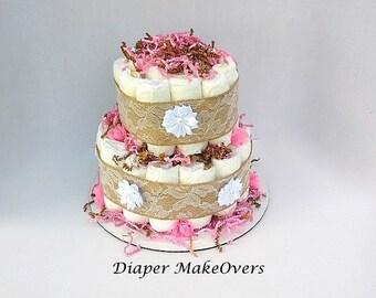 Rustic Burlap Lace Diaper Cake - Burlap Diaper Cake - 2 Tier Diaper Cake - Country Style - Baby Shower Centerpiece