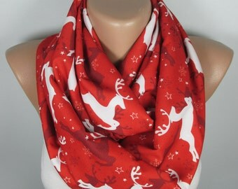 Deer Scarf Infinity Scarf Red Scarf Snowflake Scarf Christmas Gift For Her For Women Circle Scarf Nordic Scarf Fall Winter Fashion Accessory