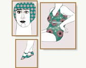Láminas mujer en bañador, láminas bañista, retrato de mujer en bañador de flores para decoración de salón o dormitorio