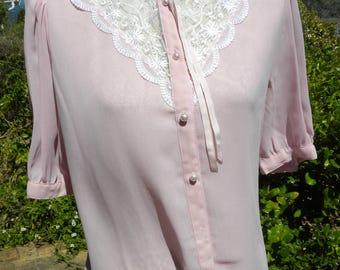 Pretty pink lace detail vintage blouse, size uk 12 usa 10, chic, boho, summer