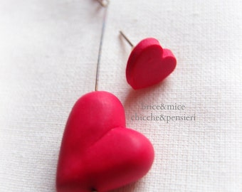 Long earrings with heart-heart earrings-Heart pendant earring-Valentine's Day gift-gift-for Valentine