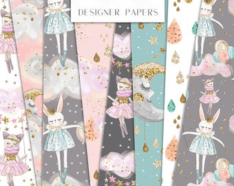Sweet Dreams Digital Paper Pack Cat Rabbit Stars Clouds Moon Kids Nursery Patterns | planner stickers, graphics  resources, Fabric, Backdrop