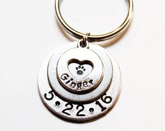 Personalized Dog Keychain, Dog Paw Keychain, Dog Memorial Keychain, Personalized pet keychain, Dog remembrance keychain, Heart Keychain