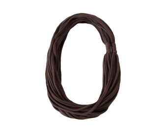 Brown Fabric Necklace, T shirt Yarn Necklace, Cotton Scarf, Fabric Jewelry, Jersey Yarn Scarf, Infinity Necklace, Urban, Textile Jewelry