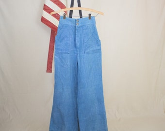 Vintage 70s Womens Denim Flares or Bell Bottoms 26 x 30