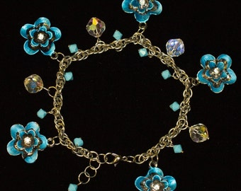 Turquoise Blue And Crystal Floral Silver Tone Charm Bracelet