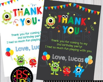 Monster Birthday Party Thank You Card, Little Monster Thank You Card, Monster Party thank you tag
