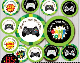 Video Game Party Cupcake Topper, Game Party Cake Topper, Video Game Party Tag