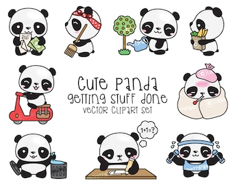 Premium Vector Clipart - Kawaii Panda - Cute Panda Planning Clipart - Instant Download - Kawaii Clipart