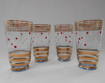 Retro Pale Blue Glasses Juice Glasses with Red and White Polka Dots and Gold Bands set of 4 1950's   #10263