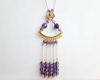 Long Boho Necklace / Amethyst Necklace / Gemstone Beaded Necklace / Gold Necklace / Birthday Gift For HerTHEODORA CO0304
