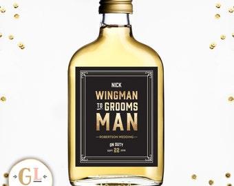 WINGMAN to GROOMSMAN Liquor Label, Ask Best Man Label, Will you be my Groomsman, Best Man Idea, Best Man Thank You Gift, Custom Label