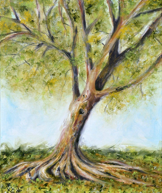 Tree Painting, Original Landscape Painting, 26 x 22 inches, Acrylic on Canvas Art, Impressionist Artwork of Trees, Landscapes, Impressionism