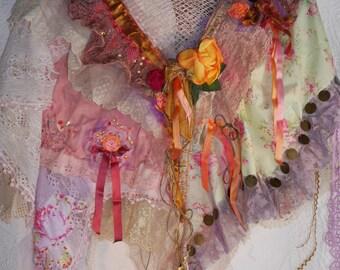 "Shawl, shrug, ""Peach temptation"", misty pink, Beautiful bohemian, feminine, Art to wear, Unique"