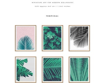 Dollhouse Wall Art Set, Miniature Printables, Printable Art, Tropical Print Set, Palm Leaf Prints, Tropical Dollhouse Decor, Wall Art Set