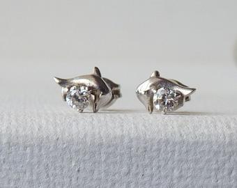 Sterling Cubic Zircon Stud  Earrings, Silver Pierced  Dolphins CZ 925 Earrings 925 Stud, Cubic Zirconia Minimalist Jewelry, Girls Small Stud