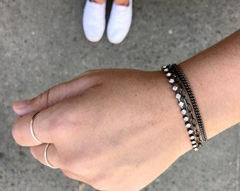 Everyday Bracelets, Multistrand Layering Bracelet, Black Jewelry Gift for Her, Rhinestone Crystal Bracelet, Gunmetal Statement Bracelet Gift