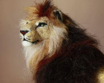 Lion, needle felting lion, african lion sculpture