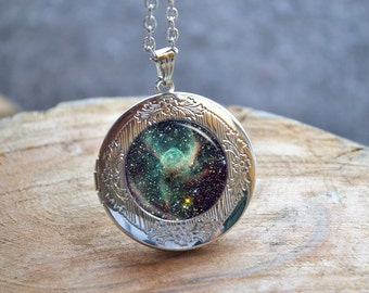 Galaxy Necklace, Galaxy Locket Necklace, Universe Jewelry, Milky Way Jewelry, Space Nebula Jewelry